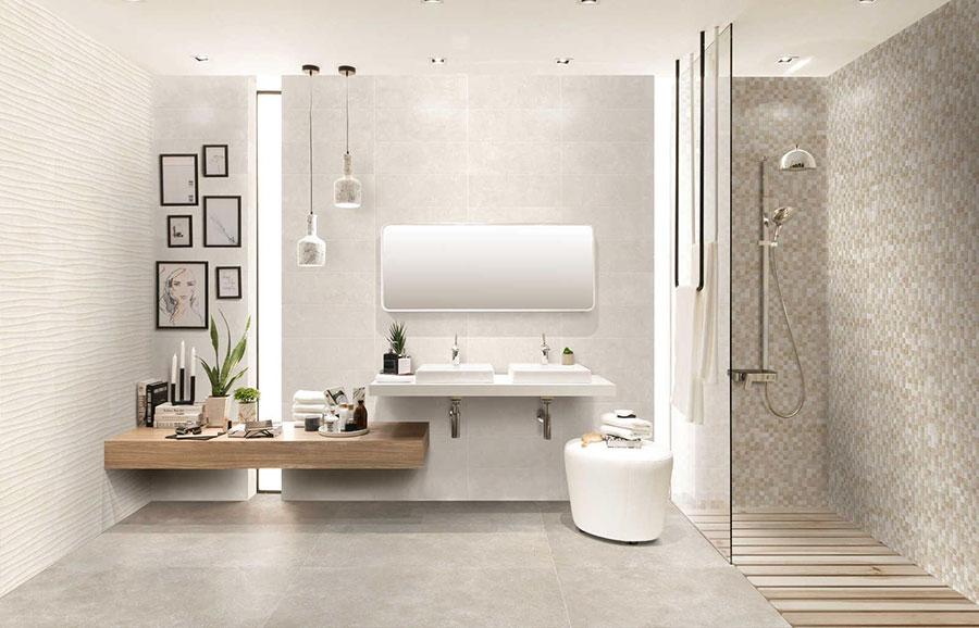 Piastrelle per bagno beige e grigie n.01