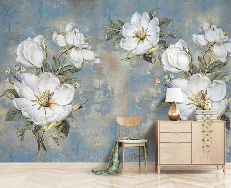Modello di carta da parati floreale in stile shabby chic n.03