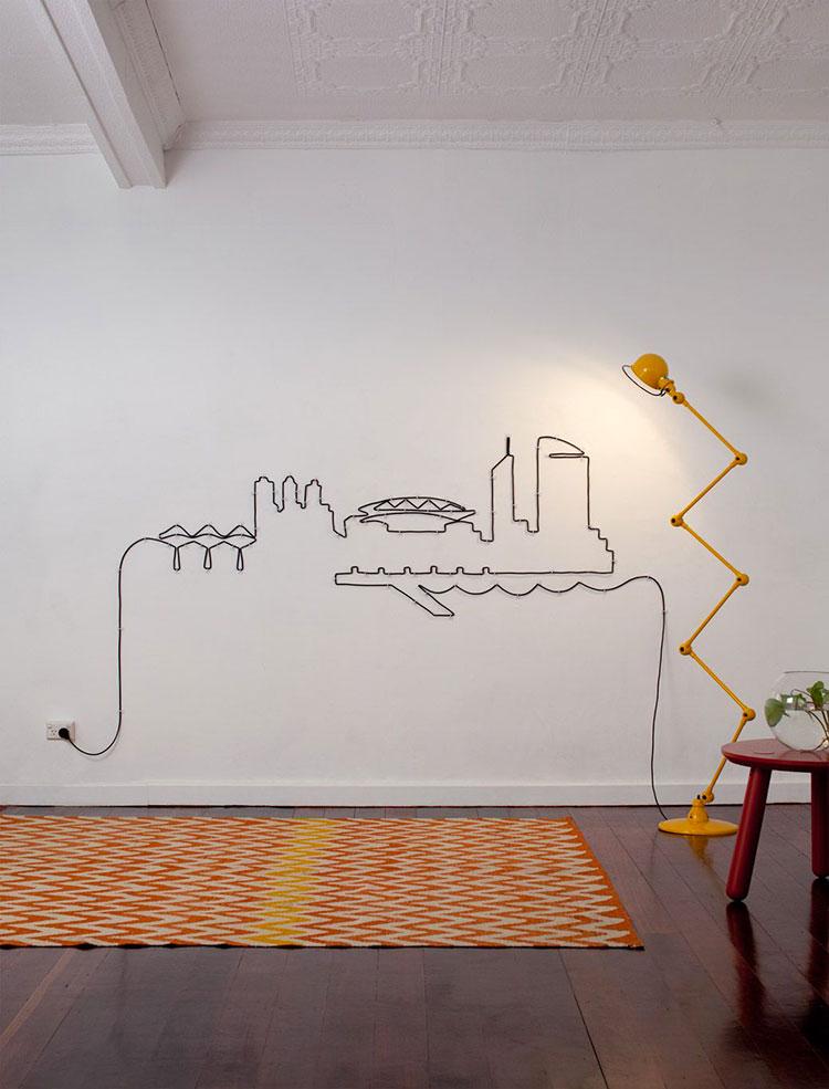 Pareti decorate con cavi elettrici n.1