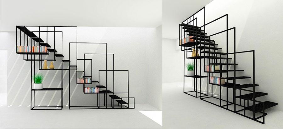 Modello di scale interne salvaspazio n.05