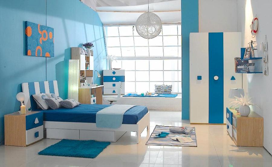 Idee di design per arredare una cameretta azzurra n.08