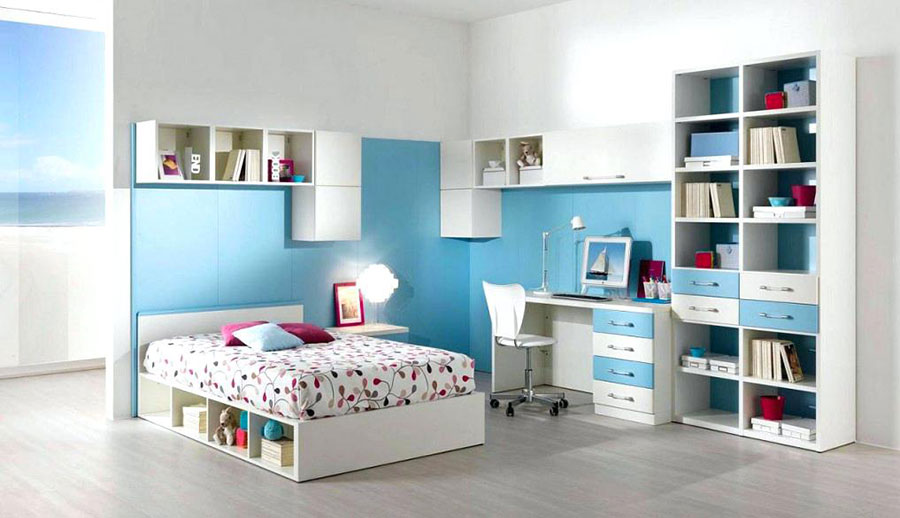 Idee di design per arredare una cameretta azzurra n.12