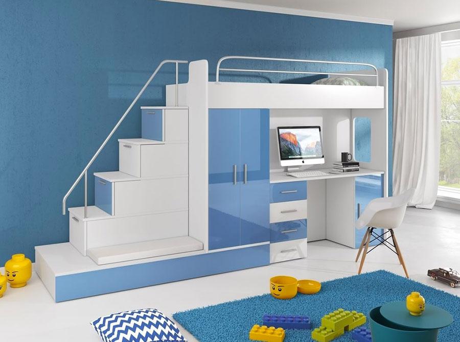 Idee di design per arredare una cameretta azzurra n.20