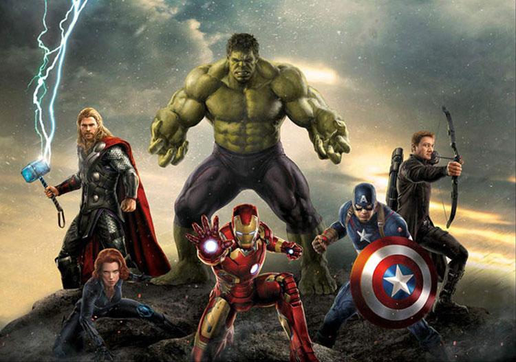 Carta da parati degli Avengers per camerette di bambini n.01