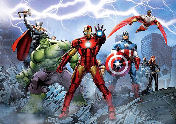 Carta da parati degli Avengers per camerette di bambini n.02