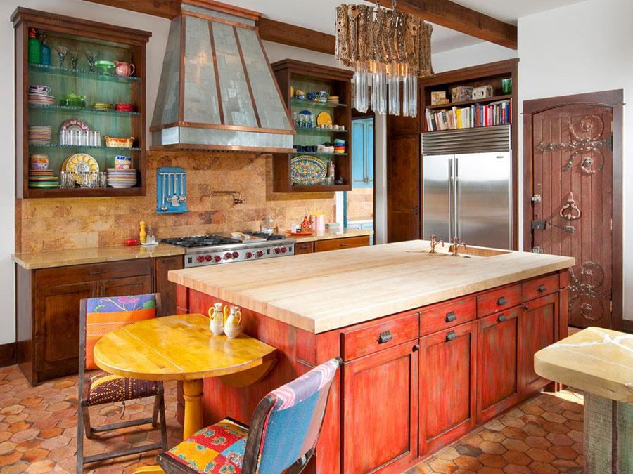 Idee per una cucina colorata classica n.04