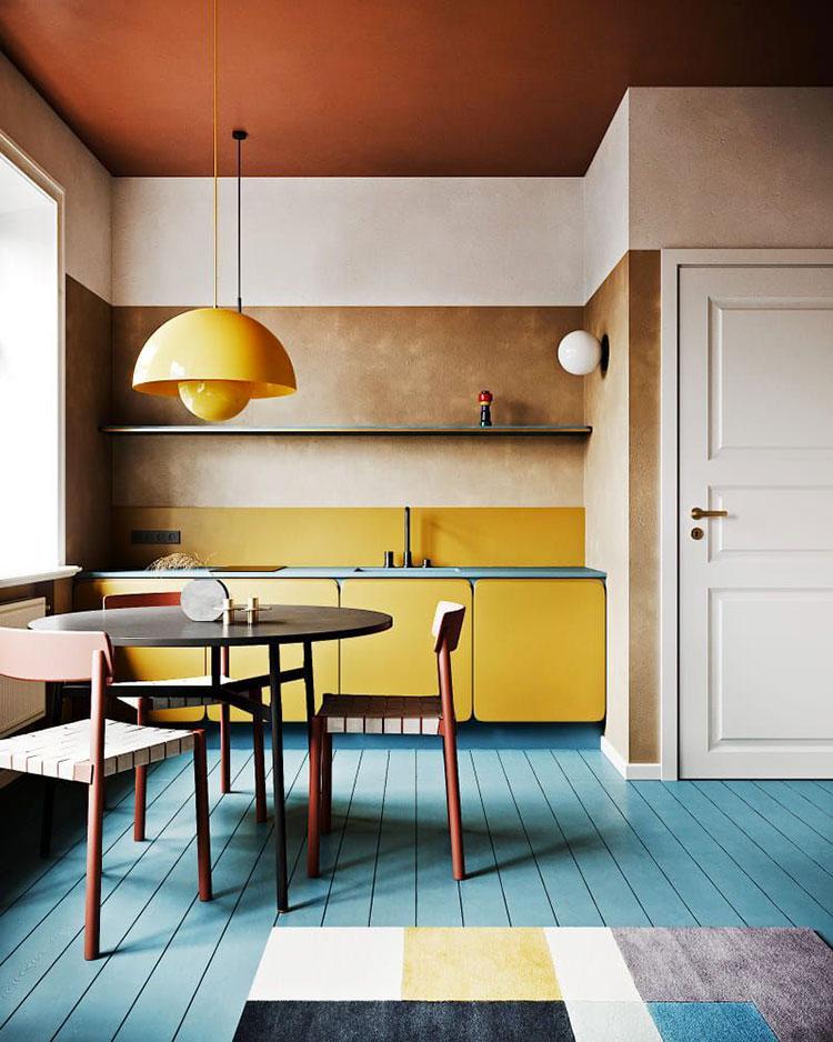 Idee per una cucina colorata moderna n.16