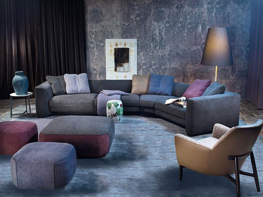 Modello di divano con angolo tondo n.01