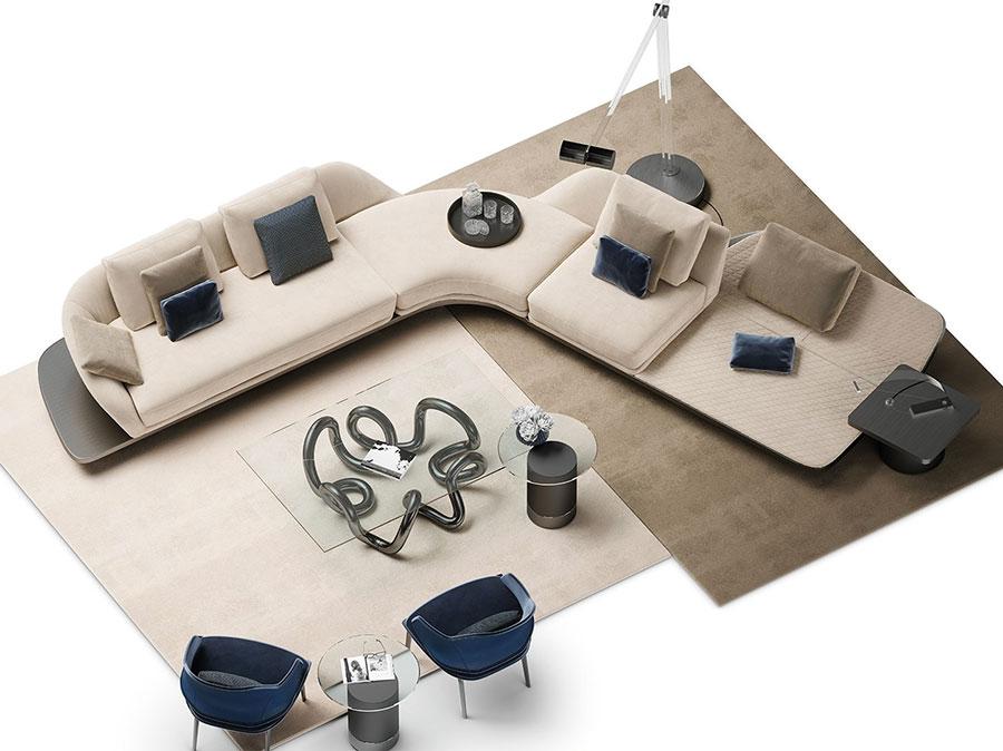 Modello di divano con angolo tondo n.08