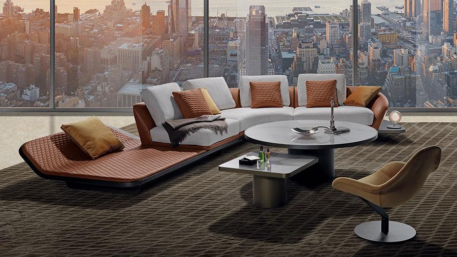 Modello di divano con angolo tondo n.09