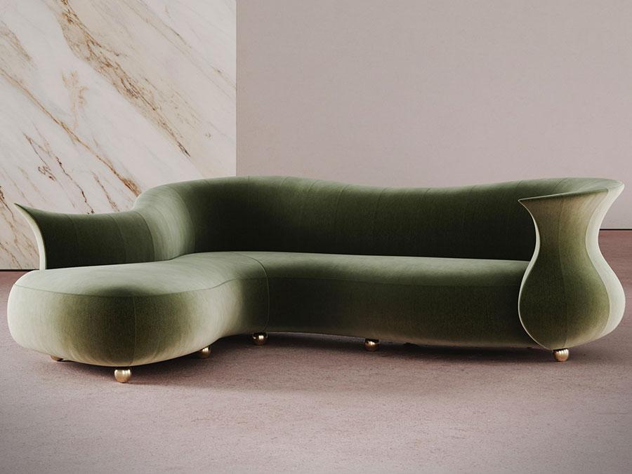 Modello di divano con angolo tondo n.29
