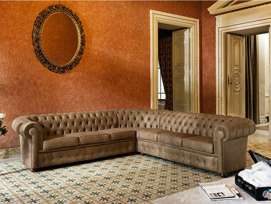 Modello di divano Divano Chesterfield angolare n.01