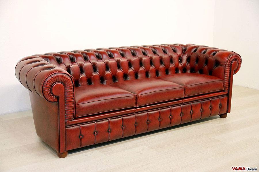 Modello di divano Divano Chesterfield bordeaux