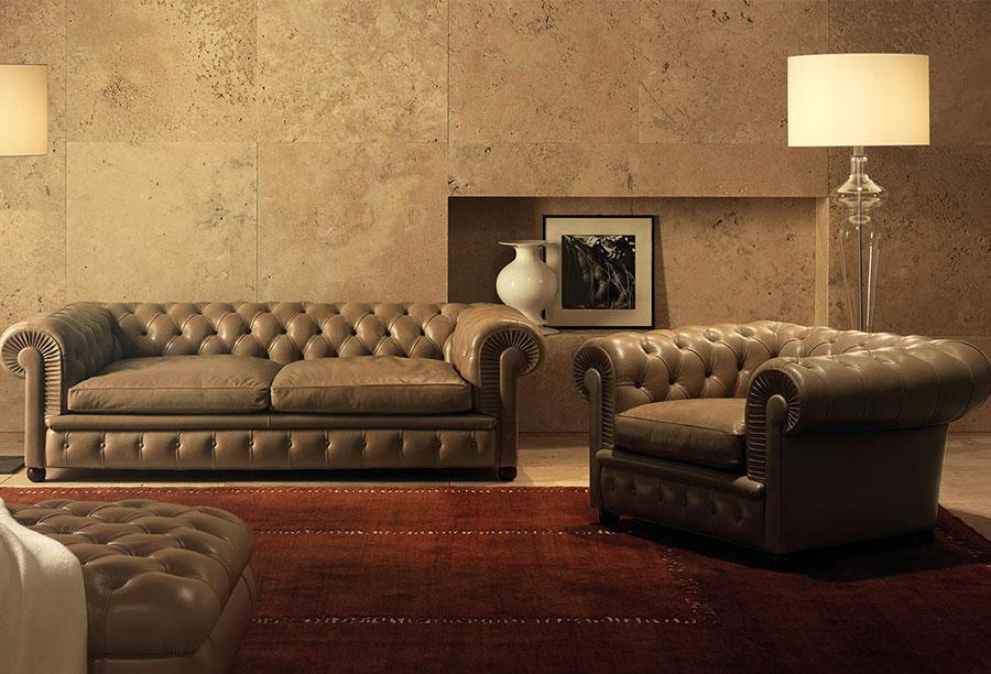 Modello di divano Divano Chesterfield marrone