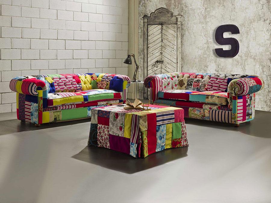 Modello di divano Divano Chesterfield patchwork
