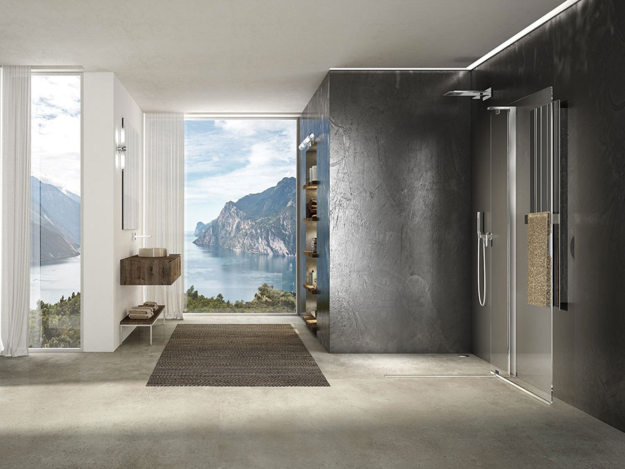 Modello di doccia walk-in con anta mobile n.02