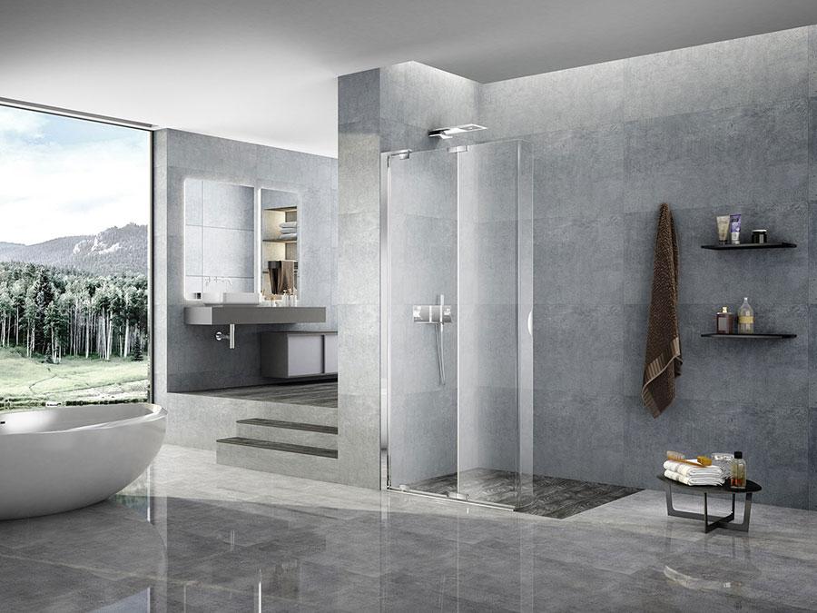 Modello di doccia walk-in con anta mobile n.03