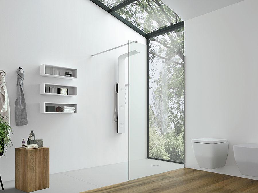 Modello di doccia walk-in con finestra n.01