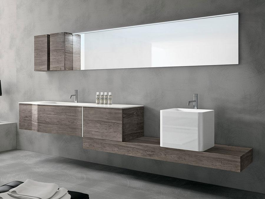 Modello di mobile bagno sospeso con doppio lavabo n.01