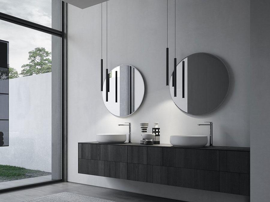 Modello di mobile bagno sospeso con doppio lavabo n.05