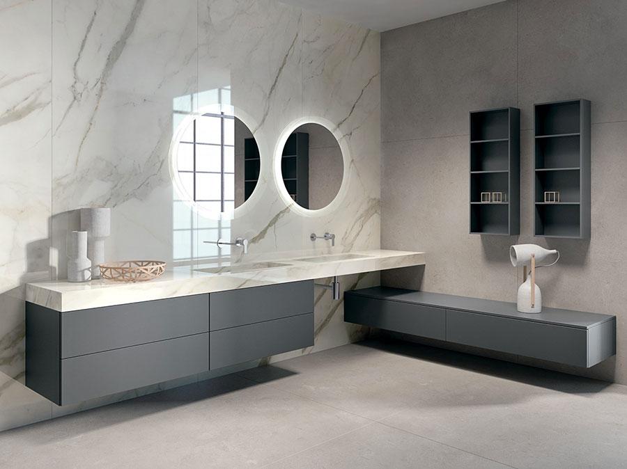 Modello di mobile bagno sospeso con doppio lavabo n.09
