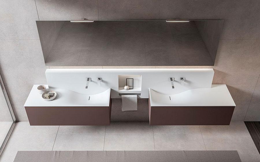 Modello di mobile bagno sospeso con doppio lavabo n.11