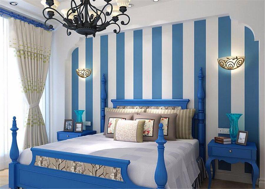 Idee per pareti a righe verticali blu n.01