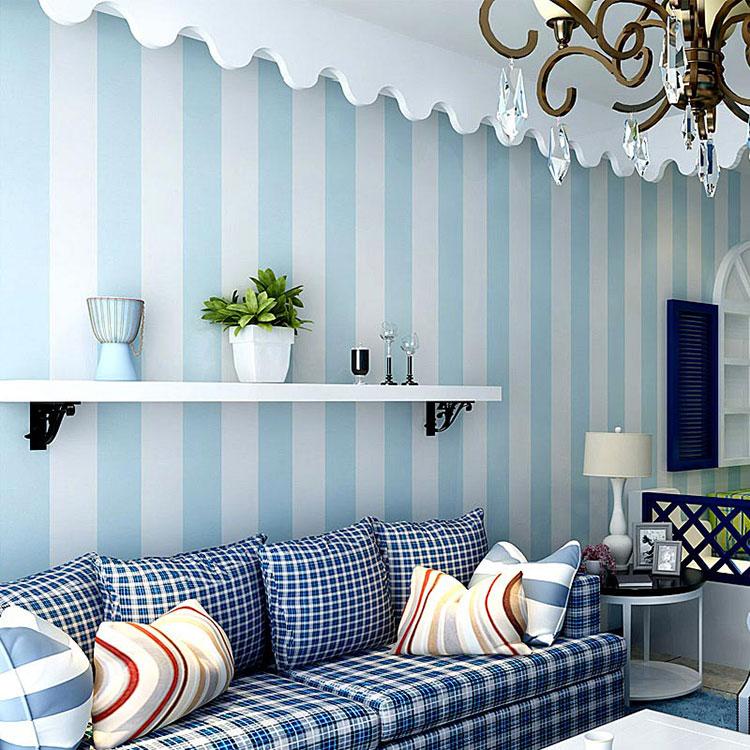 Idee per pareti a righe verticali blu n.02