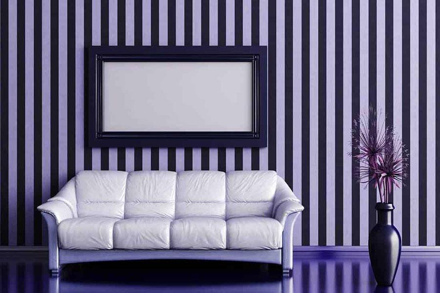 Idee per pareti a righe verticali colorate n.03