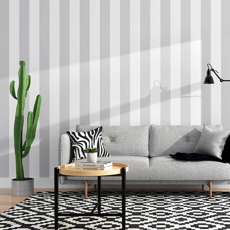 Idee per pareti a righe verticali grigie n.02
