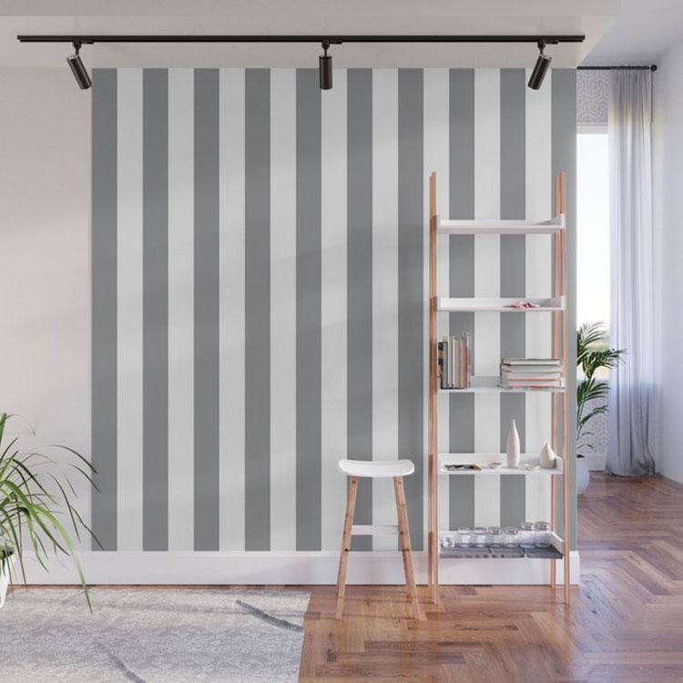 Idee per pareti a righe verticali grigie n.03