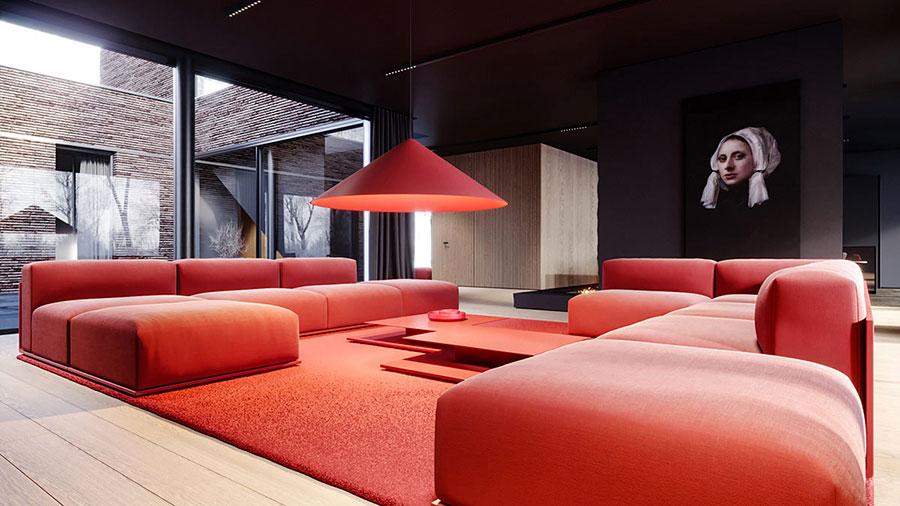 Idee per arredare un salotto con divano rosso n.01