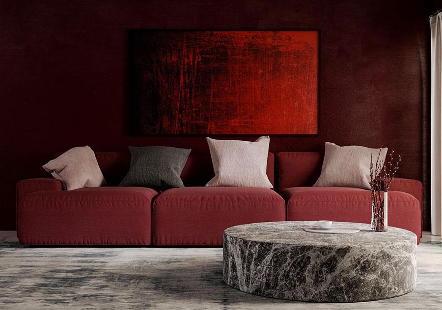 Idee per arredare un salotto con divano rosso n.04
