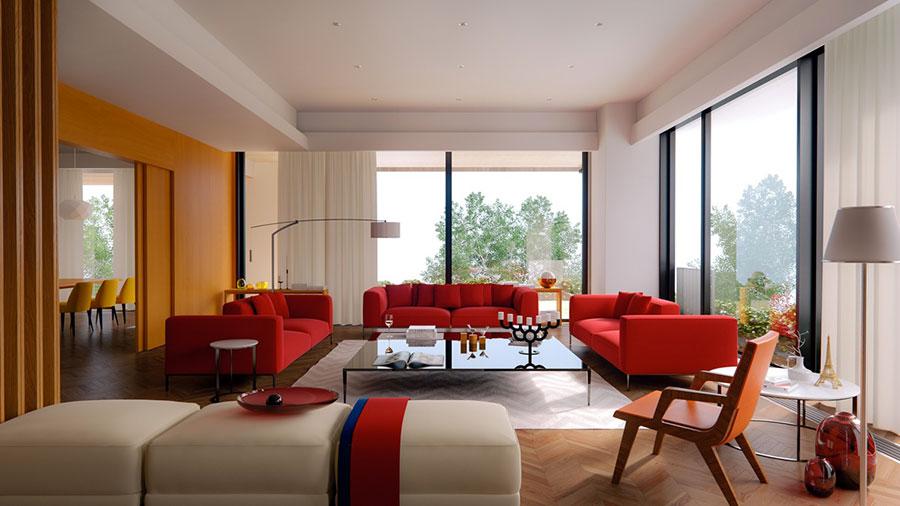 Idee per arredare un salotto con divano rosso n.06
