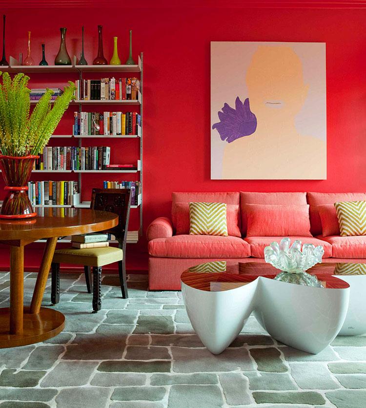 Idee per arredare un salotto con divano rosso n.08
