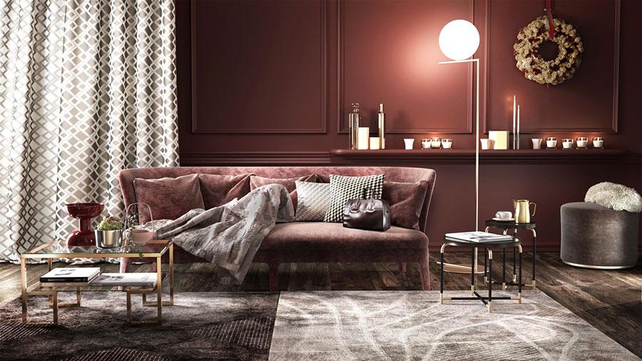 Idee per arredare un salotto con divano rosso n.09