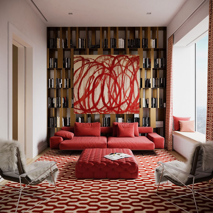 Idee per arredare un salotto con divano rosso n.11