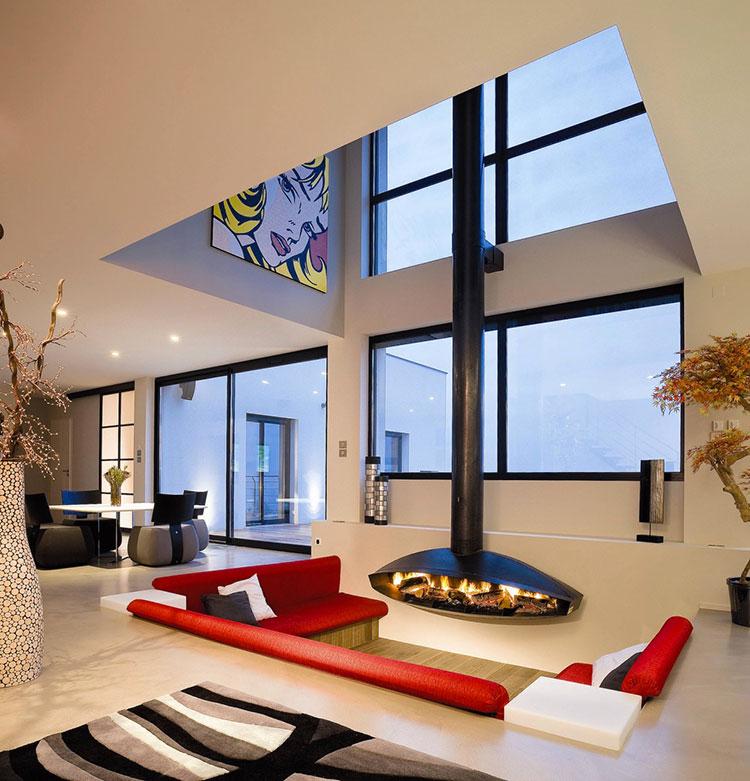 Idee per arredare un salotto con divano rosso n.13