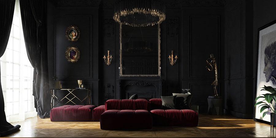Idee per arredare un salotto con divano rosso n.14