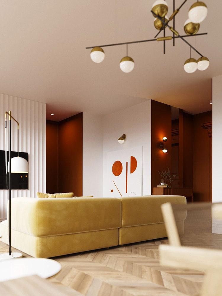 Idee per arredare un salotto con divano rosso n.15