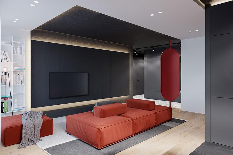 Idee per arredare un salotto con divano rosso n.16