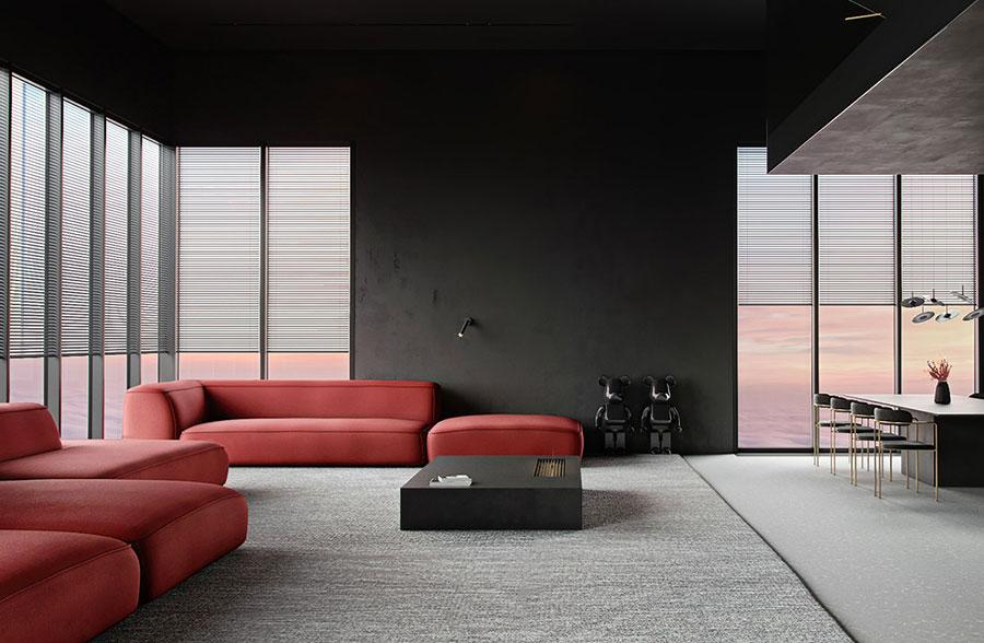 Idee per arredare un salotto con divano rosso n.17