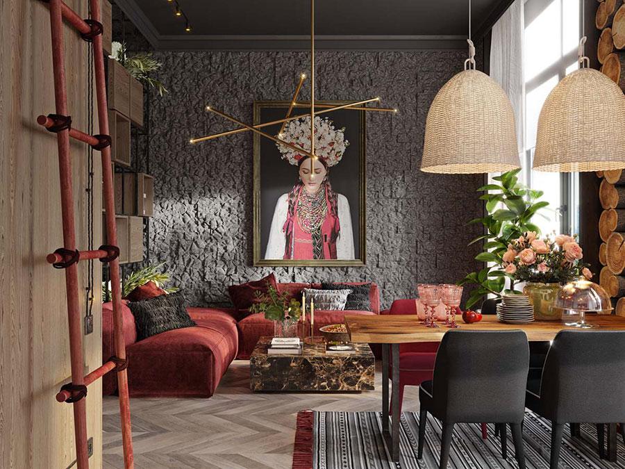 Idee per arredare un salotto con divano rosso n.18