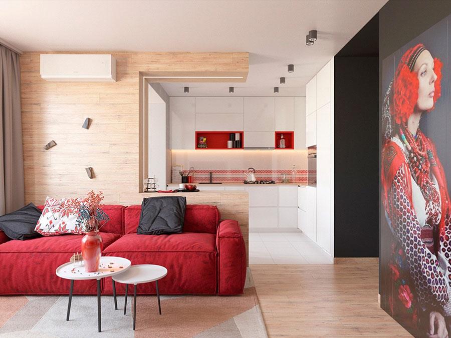 Idee per arredare un salotto con divano rosso n.19