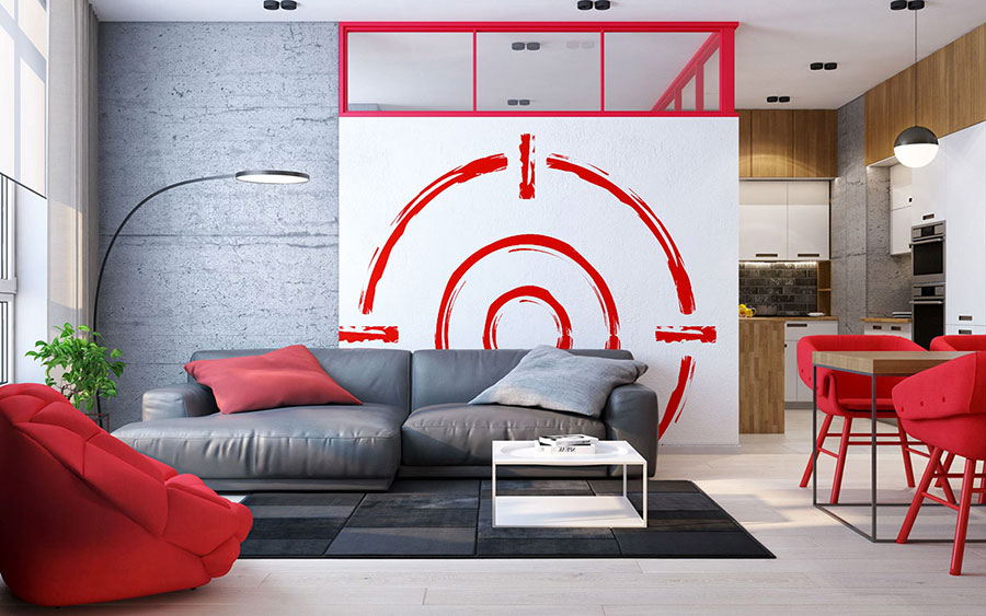Idee per arredare un salotto con poltrone rosse n.03