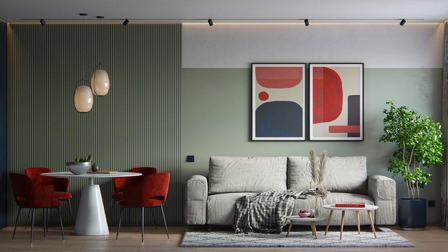 Idee per arredare un salotto con poltrone rosse n.04