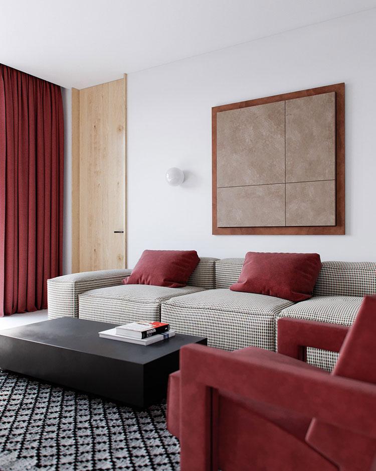 Idee per arredare un salotto con poltrone rosse n.05