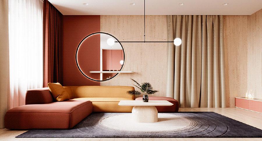 Idee per arredare un salotto con pareti e accessori rossi n.01