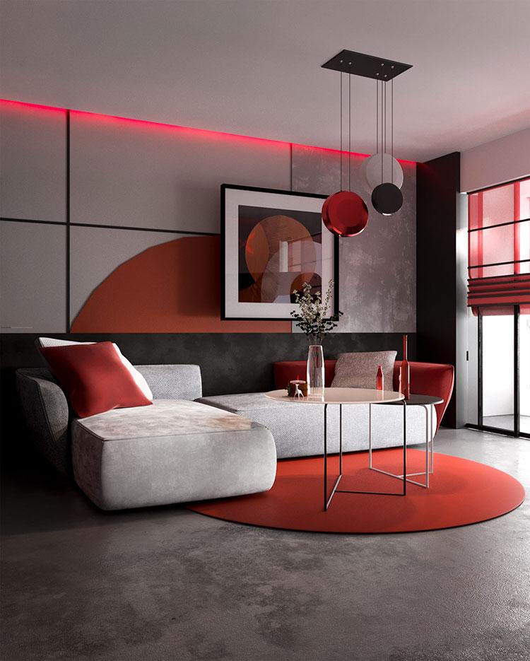 Idee per arredare un salotto con pareti e accessori rossi n.02
