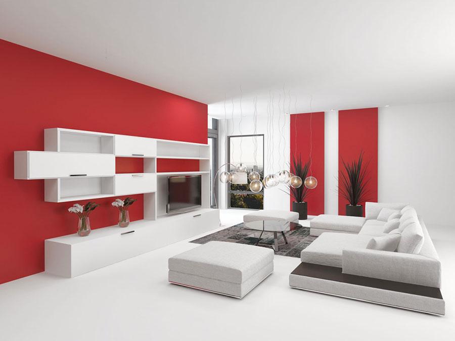 Idee per arredare un salotto con pareti e accessori rossi n.04